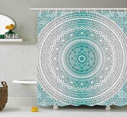 Ambesonne Grey and Teal Shower Curtain, Mandala Ombre Design