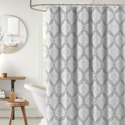 Juno Grey White Fabric Shower Curtain: Flower Print in Moroc