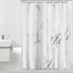 Grey White Marble Bathroom Shower Curtain Polyester Fabric 1