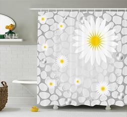 Ambesonne Grey and Yellow Shower Curtain, Hawaiian Island Fl