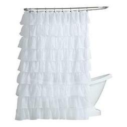 "Gypsy Ruffled Shower Curtain White 70"" wide x 72"" long"