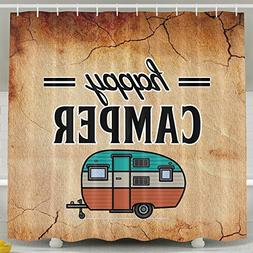 Happy Camper Camping Outdoor Shower Curtain Liner Mildew Res