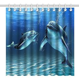 Wknoon 72 x 72 Inch Happy Dolphins Shower Curtain,Waterproof