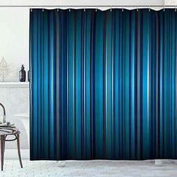 Ambesonne Harbour Stripe Shower Curtain, Vibrant Nvay Blue B
