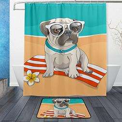 ALAZA Hawaii Puppy Pug Glasses Flower On Beach Shower Curtai