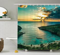 Ambesonne Hawaiian Decorations Shower Curtain Set, Sunrise O