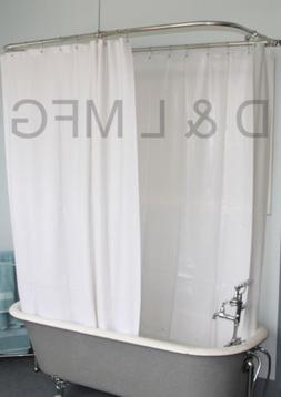 Vinyl Extra Wide Shower curtain For Clawfoot Tub/White w/ Ma
