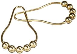 Heavy Duty Roller Shower Curtain Rings, Polished Brass Clipp