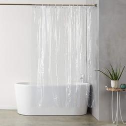 AmazonBasics Heavyweight Clear Shower Curtain Liner with Hoo