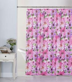 Hibiscus Floral Canvas Fabric Shower Curtain with 12 Metal R