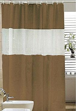 """Hitchcock PVC-Free EVA Shower Curtain, 72"""" x 72"""" - Brown/Cle"""