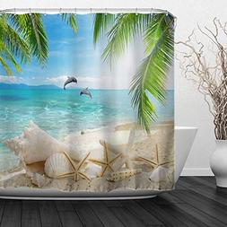 ALFALFA Home Bathroom Decorative Polyester Fabric Ocean Beac