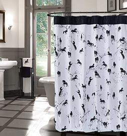 Kensie Home Black White Fabric Shower Curtain: Western Horse