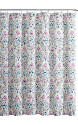 VCNY Home Fabric Shower Curtain: Elegant Floral Paisley Desi