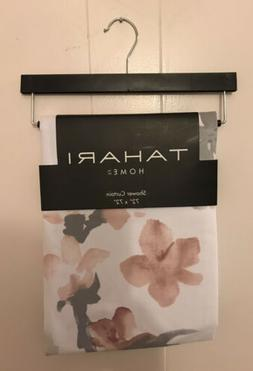 Tahari Home Fabric Shower Curtain Printempts 2 White/Gray w/