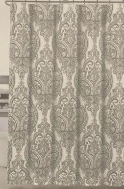 Tahari Home Grey Silver Liza Medallion Paisley Fabric Shower