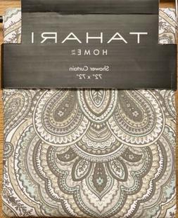 Tahari Home Mackenzie Paisley Fabric Shower Curtain Tan Grey
