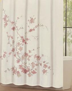 Tahari Home Pink Watercolor Floral Printemps Fabric Shower C