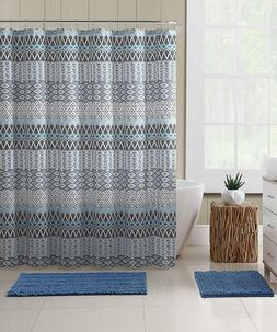VCNY Home Teal Blue Gray Beige Fabric Shower Curtain: Floral