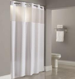 Hookless Madison 71 in. x 77 in. White Shower Curtain Focus