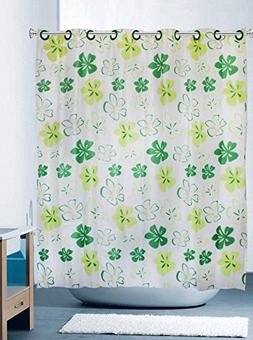 Hookless Shower Curtain Clover Green White Yellow Pattern Ex