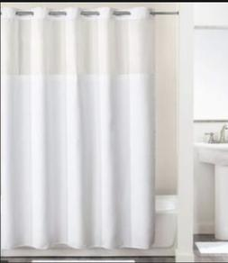 Hookless Shower Curtain White Polyester Fabric, Voile Window