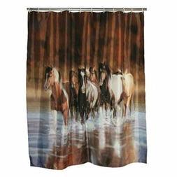 "HORSE SHOWER CURTAIN Set 72"" x 70"" Country Western Bathroom"
