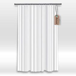 Hotel Fabric Shower Curtain Liner,White Tonal Stripe- Mildew
