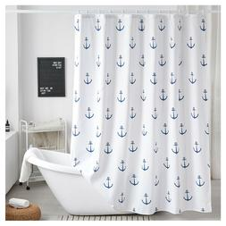 "Hotel Quality Fabric shower Curtain Blue Ship's Anchor 72""x7"