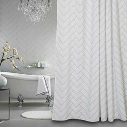 Aimjerry Hotel Quality White Striped Fabric Shower Curtain f