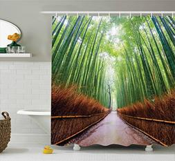 Ambesonne House Decor Collection, Path to Bamboo Forest Aras