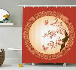 Ambesonne House Decor Collection, Oriental Cherry Blossom wi