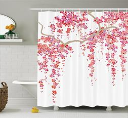 Ambesonne House Decor Collection, Cherry Blossom Trees Branc