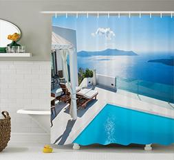 Ambesonne House Decor Collection, Architecture on Santorini