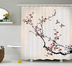 Ambesonne Cherry Blossom Shower Curtain Decor, Cherry Branch