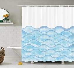Ambesonne House Decor Shower Curtain Set, Sea Waves Illustra