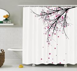Ambesonne House Decor Shower Curtain Set, Cherry Blossoming