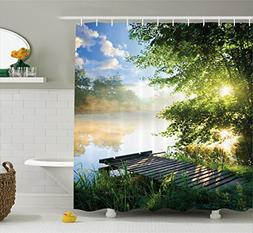 Ambesonne House Decor Shower Curtain Set, Fishing Pier By Ri
