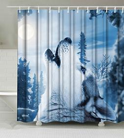 Goodbath Howling Wolf Shower Curtain, Waterproof and Mildew