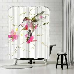 Americanflat 'Hummingbird Flyiong 3' Shower Curtain Pink, Wh