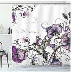 Ambesonne Hummingbird Shower Curtain, Flowers Leaves Bird