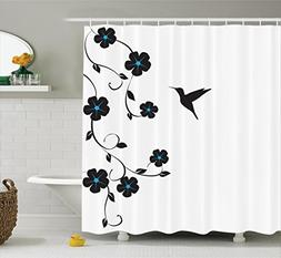 Ambesonne Hummingbirds Decorations Collection, Floral Design