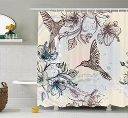 Ambesonne Hummingbirds Decorations Shower Curtain Set, Birds