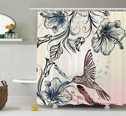 Ambesonne Hummingbirds Decorations Shower Curtain Set, Flora