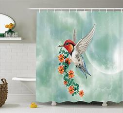 Ambesonne Hummingbirds Decorations Shower Curtain Set, A Hum