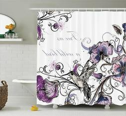 Hummingbirds Decorations Shower Curtain Set By Ambesonne, Fl