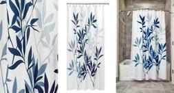 iDesign Leaves Fabric Shower Curtain, Modern Mildew-Resistan