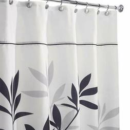 "iDesign Leaves Fabric Shower Curtain - Stall, 54"" x 78"" Blac"
