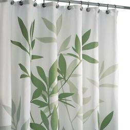 "iDesign Leaves Fabric Shower Curtain, Stall, 54"" x 78"" Green"