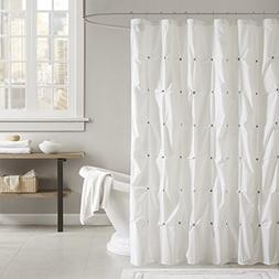 """INK+IVY II70-619 Masie Cotton Shower Curtain, 72 x 72"""", Whit"""
